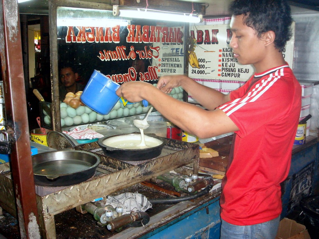 The making of martabak manis (Indonesian pancake)