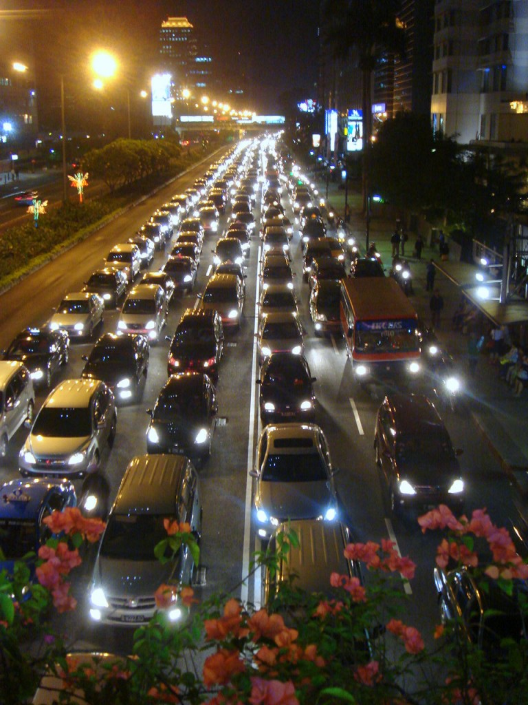 Night traffic in Jakarta