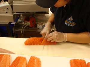 Salmon sashimi cut to order