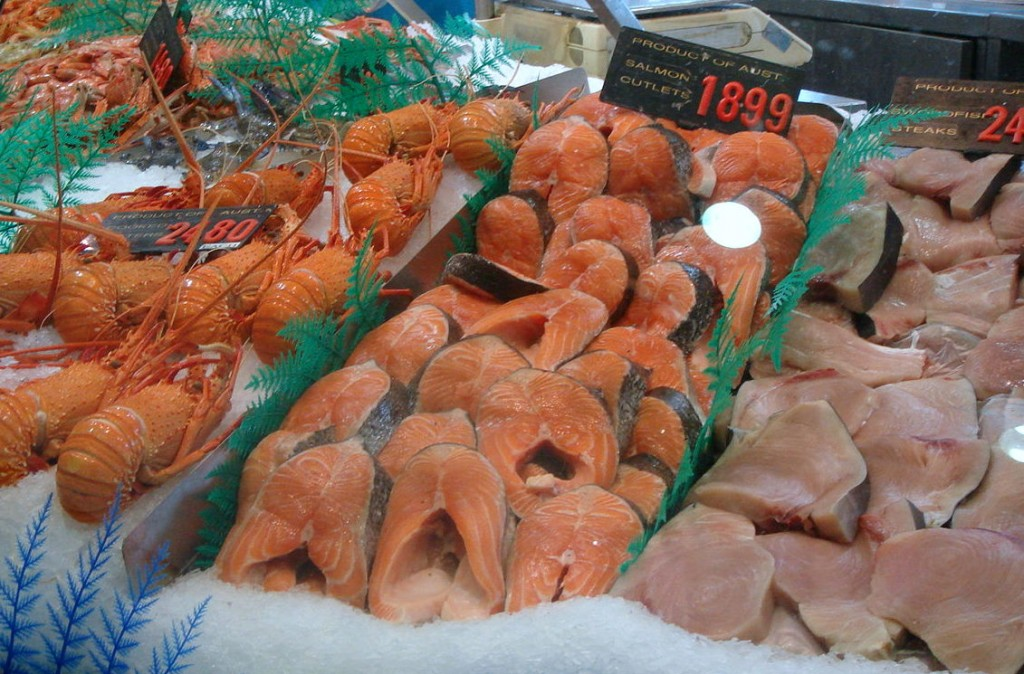 Lobster, salmon & tuna fillets