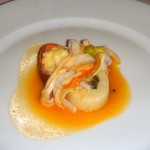 Crayfish and squid with saffron sauce