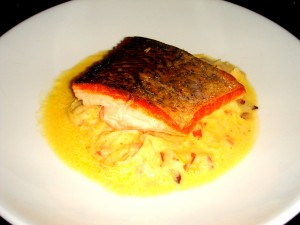 Tasmanian Atlantic salmon, anchovy cream sauce