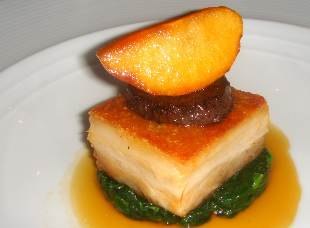 Pork belly with caramelised apple and morcilla