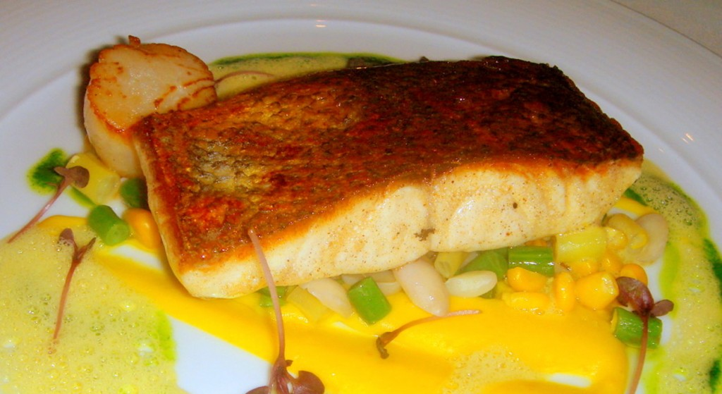 Blue-eyed trevalla with sweet corn puree