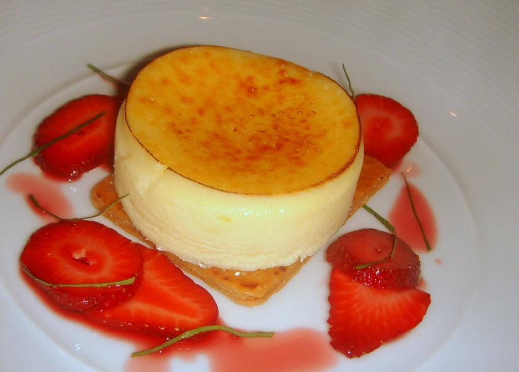 Baked ricotta cheesecake, strawberry and basil salad
