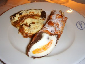 2 desserts for me: tiramisu and cannoli