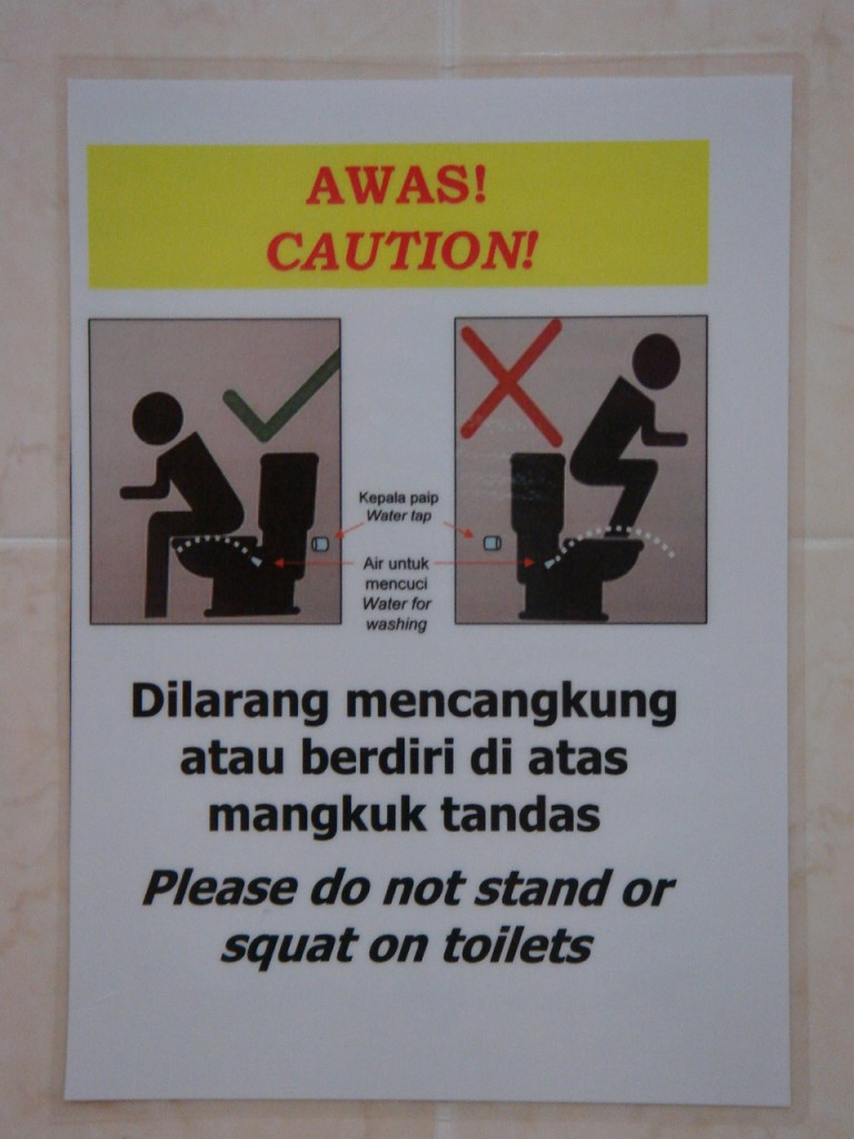 No squatting on the loo...