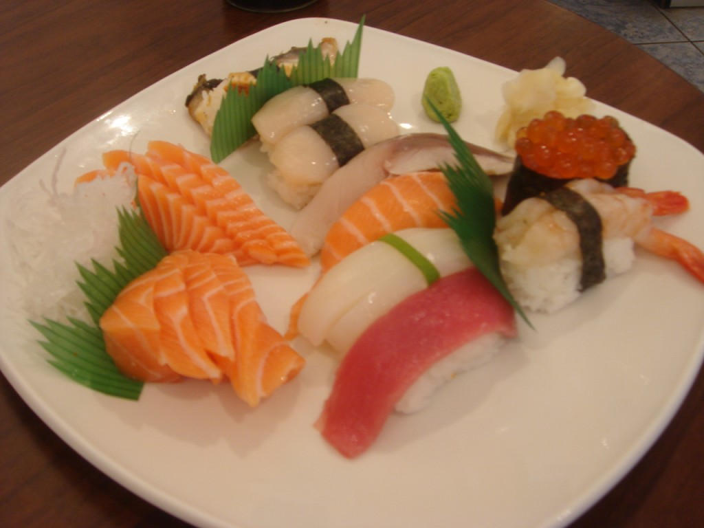 Mixed selection of sushi and sashimi at Atariya