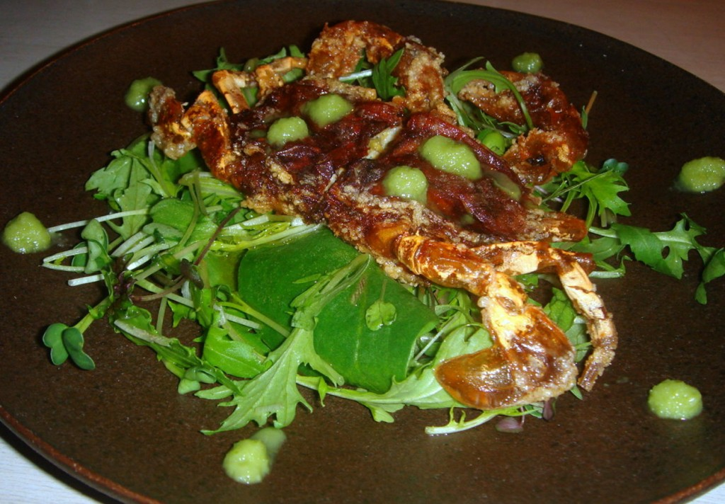 Softshell crab salad with wasabi sauce