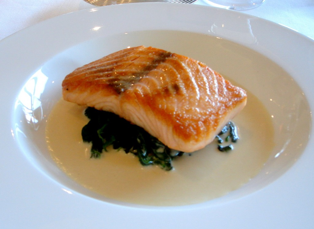 Pave of salmon, wilted spinach and horseradish sauce