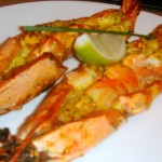 Tiger prawns with mustard spice paste