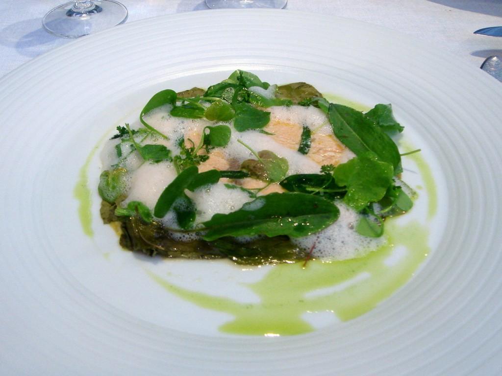 Salmon with sorrel, lemongrass, tarragon oil & scrambled egg