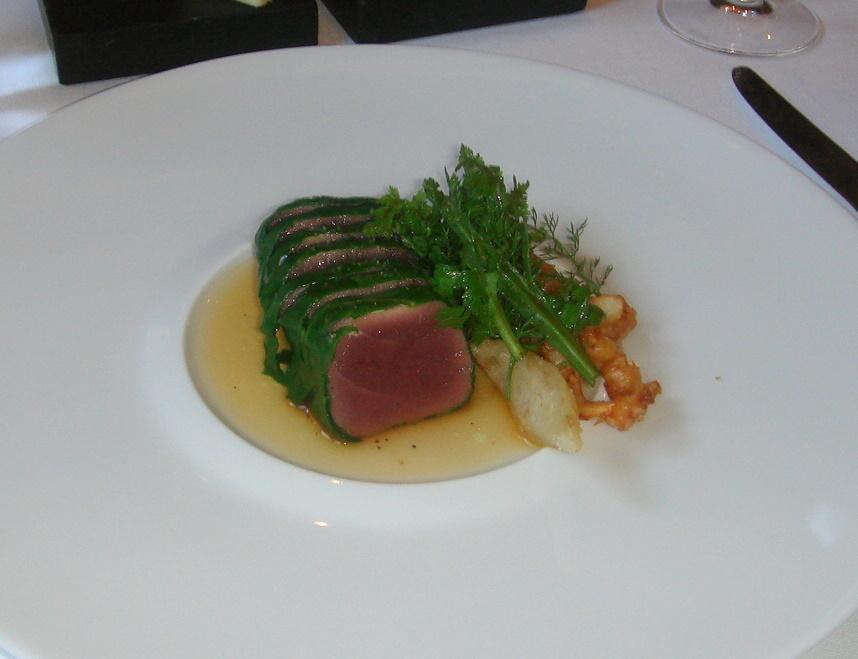 Steamed tuna, squid & onion tempura