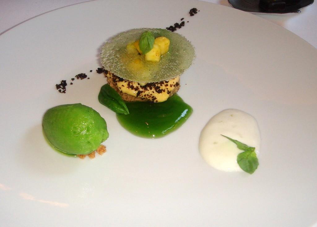 Olive madeleine, lemon curd, fresh pineapple & basil sorbet