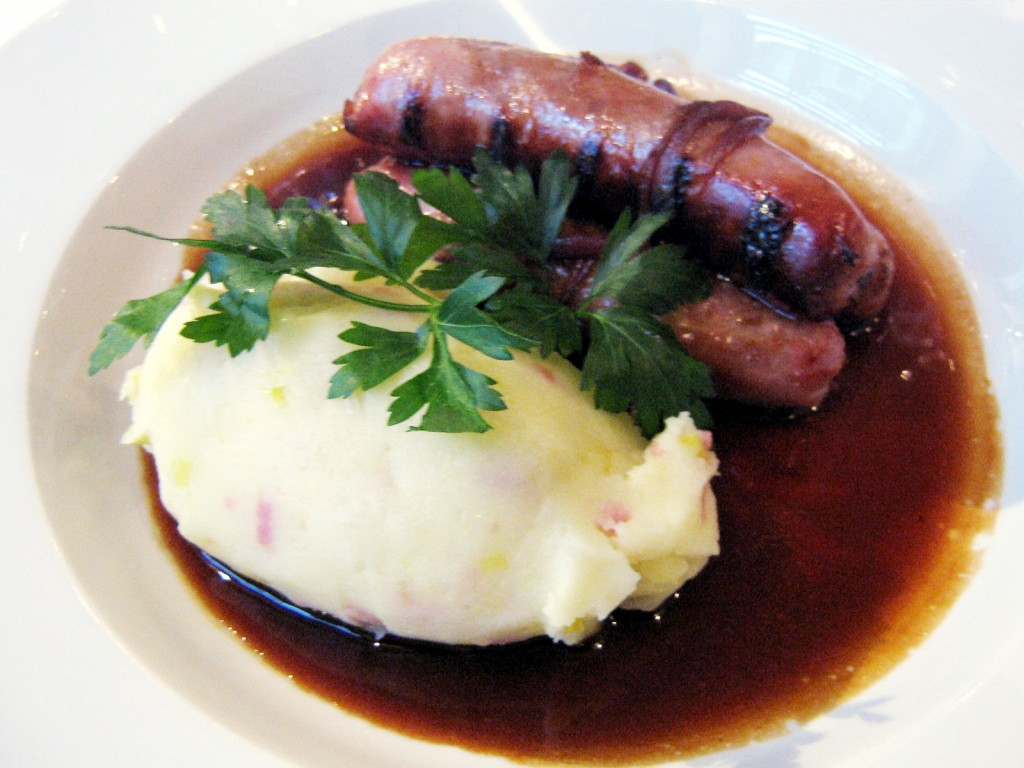 Bangers and mash from Blue Door Bistro