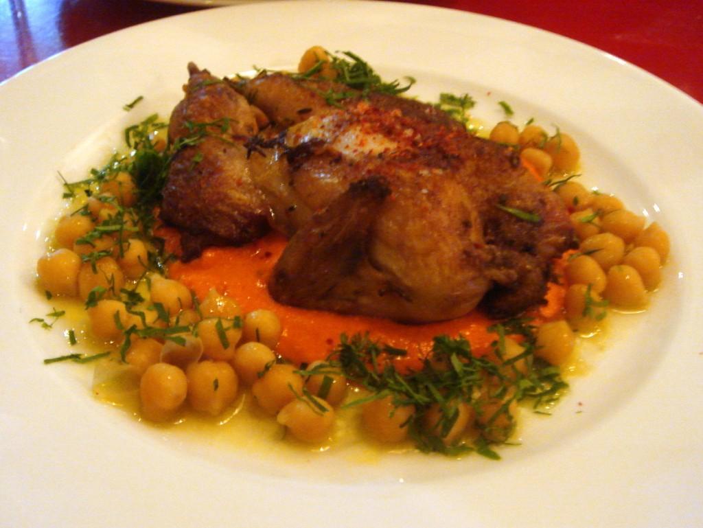 Spatchcock'd quail, chickpeas & romesco sauce