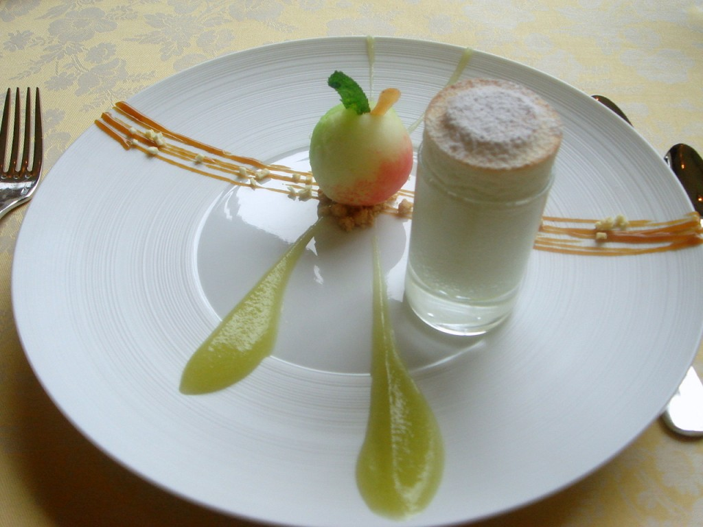 Calvados soufflé with green apple ice & sea salt caramel