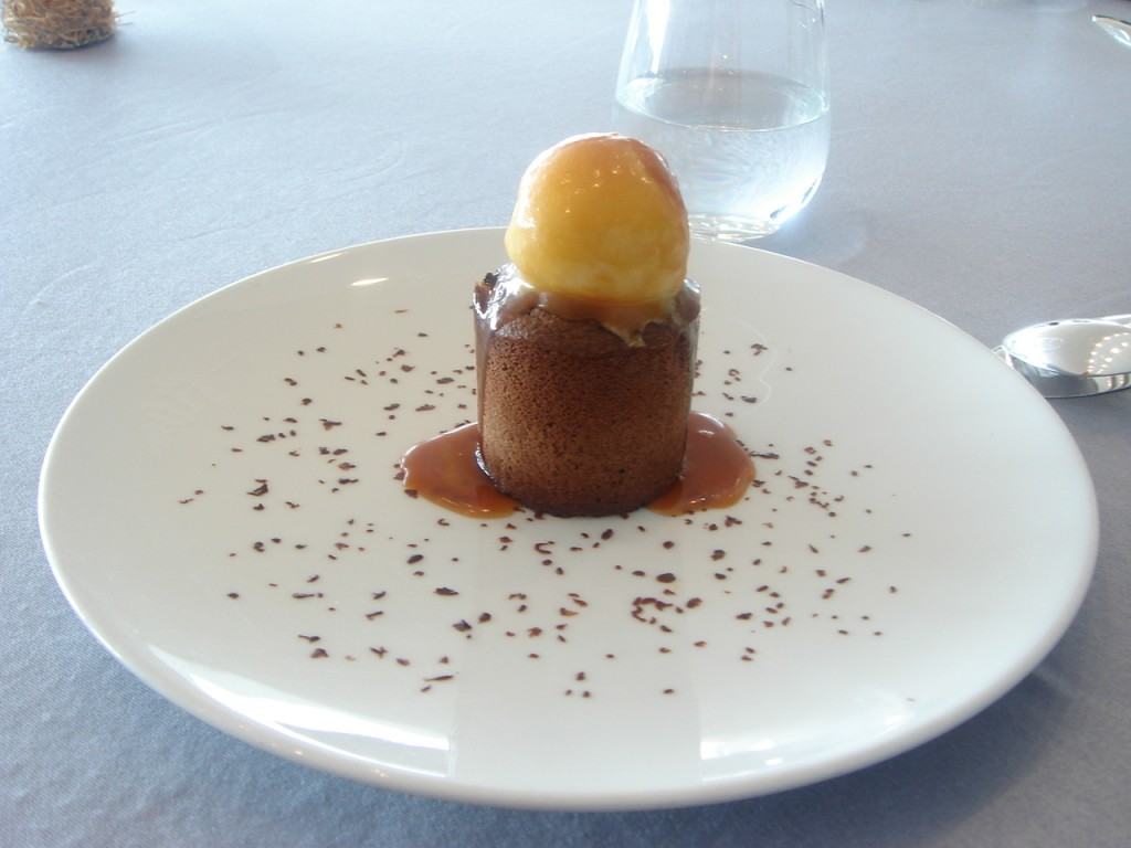 Chocolate coolant with a banana sorbet & caramel sauce