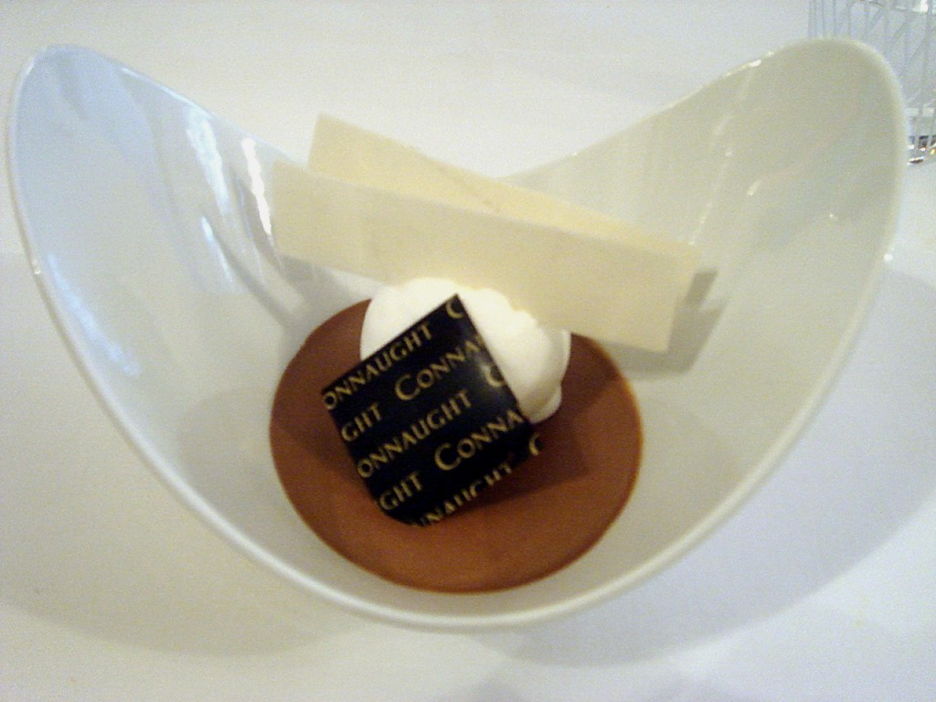 Chocolate cream with coconut sorbet