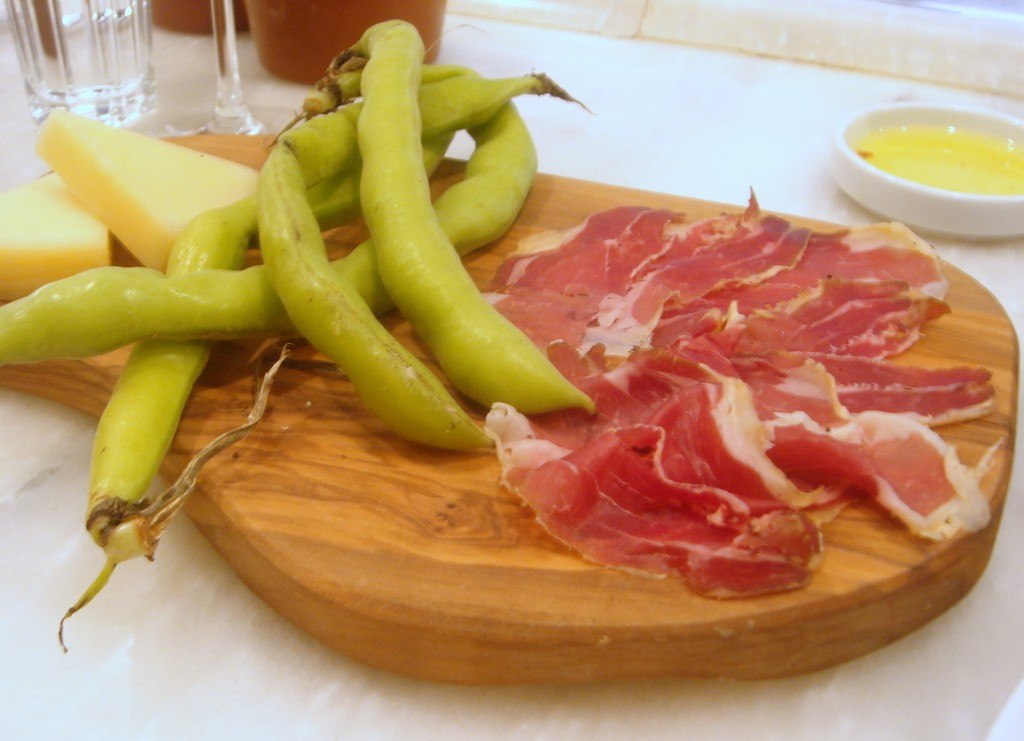 Lamb prosciutto with raw broad beans & peppercorn pecorino sardo