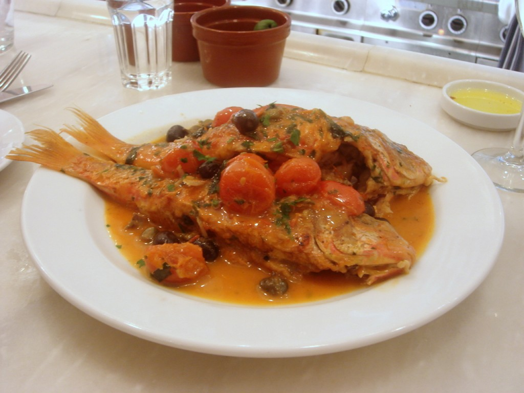 Red mullet with tomato, olives & capers
