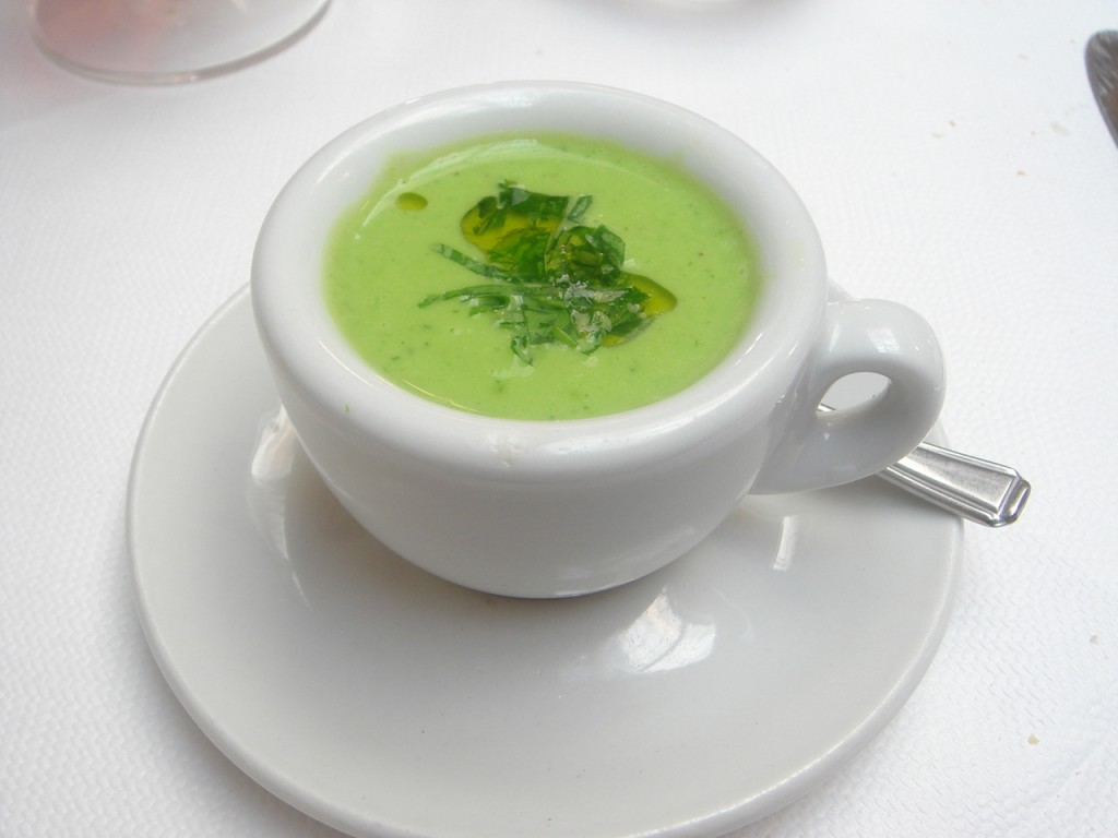 Chilled pea shoot & spring leek soup