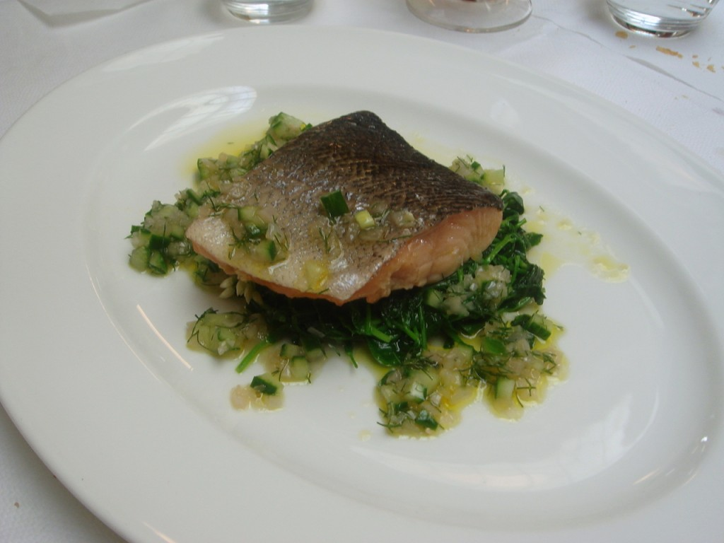 Sea trout with wilted pea shoots, wild garlic & cucumber