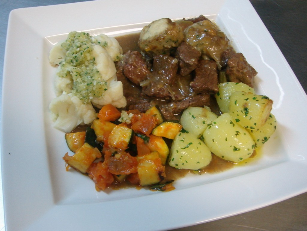 Beef stew, parsley potatoes, courgette provencal, cauliflower polonaise