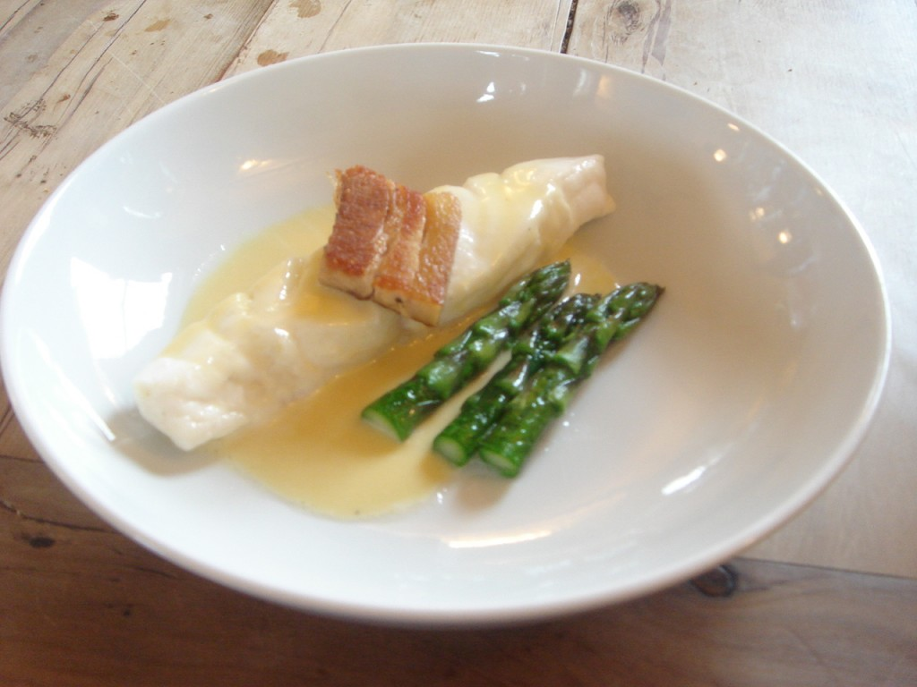 Turbot braised in vin jaune with smoked pork