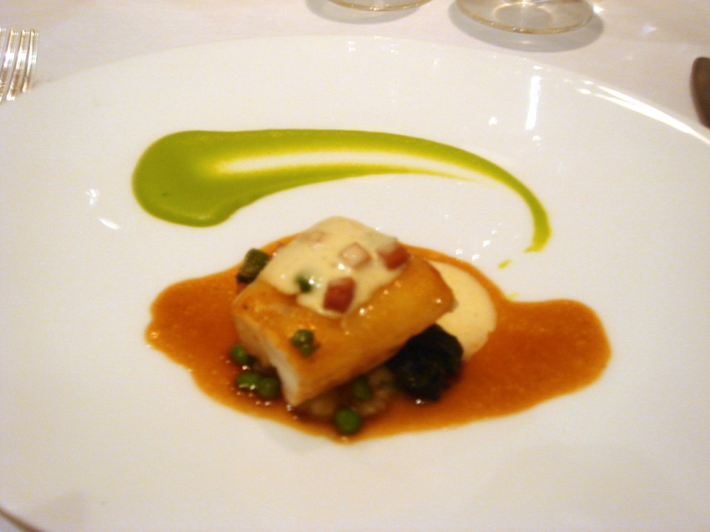 Loin of monkfish with a puree of peas
