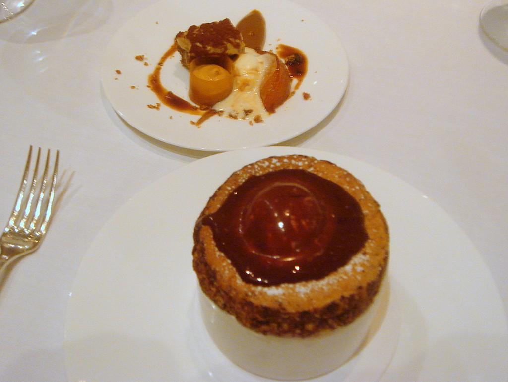 Mocha soufflé & side dessert of tiramisu