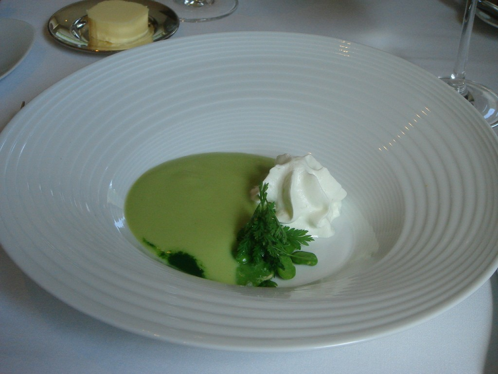 Chilled cream of broad bean with horseradish foam