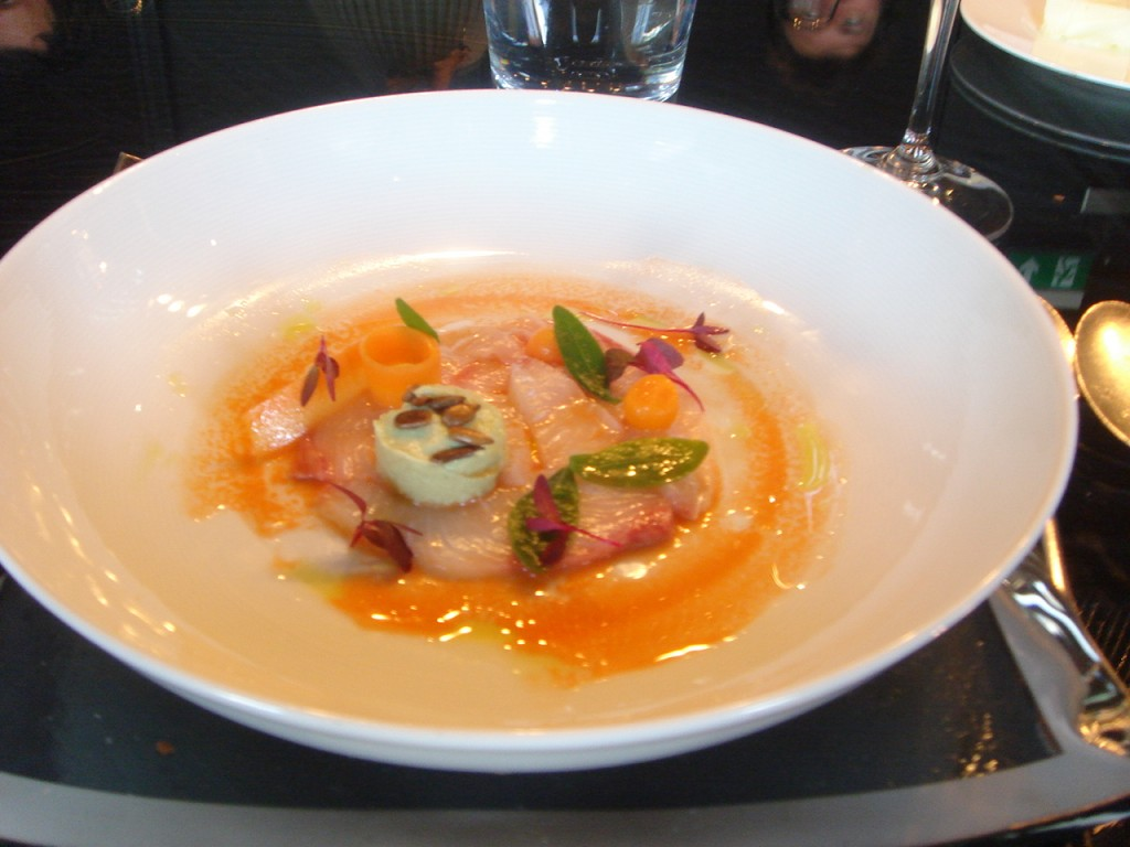 Ceviche of kingfish with carrot & verjuice