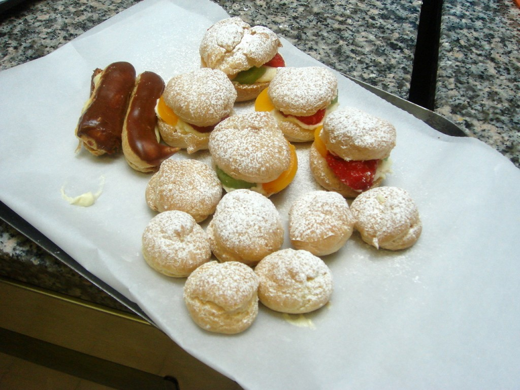 Various types of choux pastry