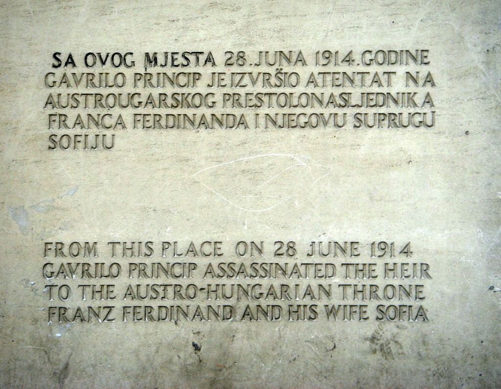Plaque to mark the spot where the assassination took place