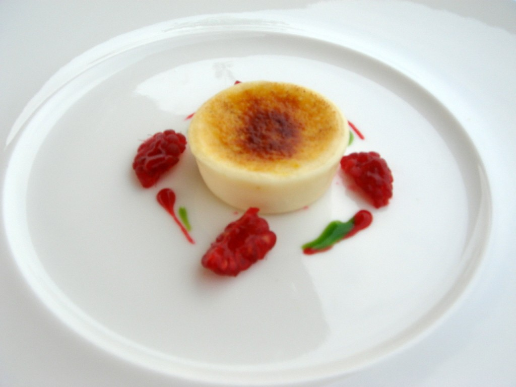 Pre-dessert of lemon cream & raspberries
