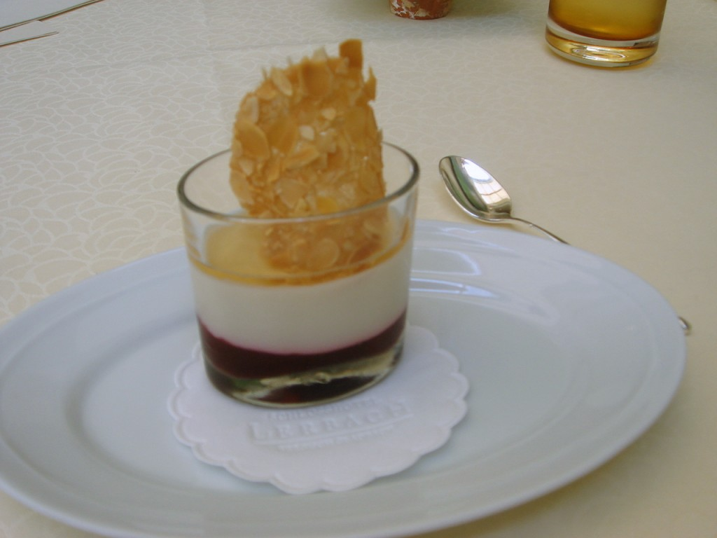 Cherry cream with almond puree & jelly