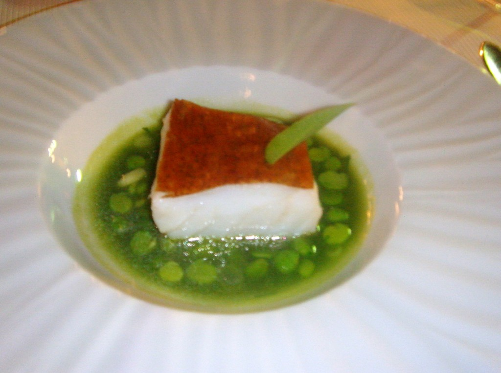 Cod poached in a verbena butter