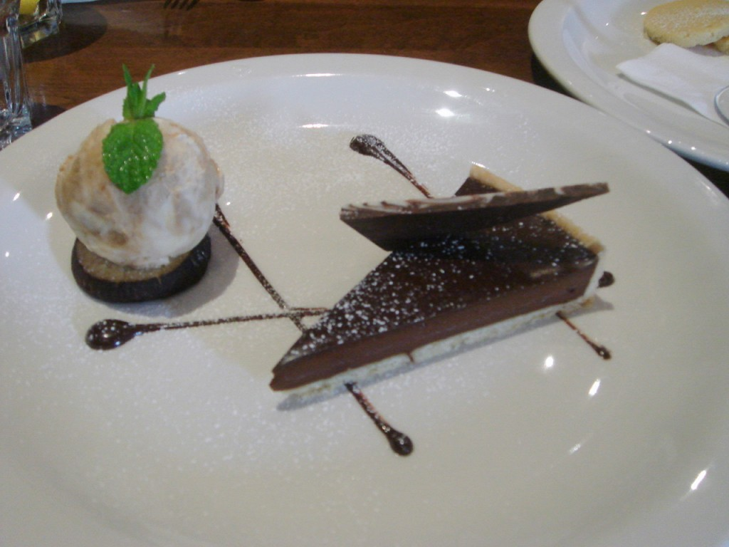 Valrhona chocolate tart with espresso ice cream