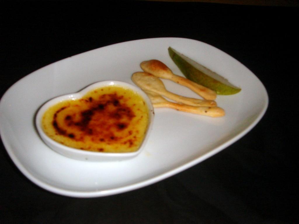 Stilton crème brûlée with edible spoons