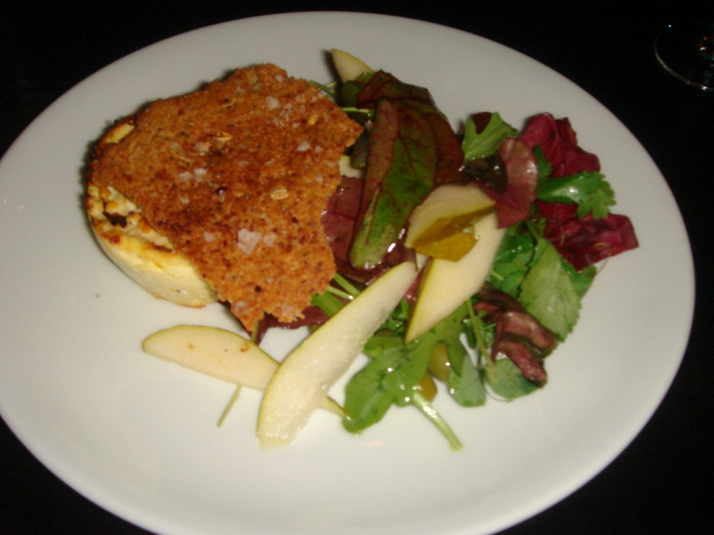 Baked bee pollen crusted ricotta