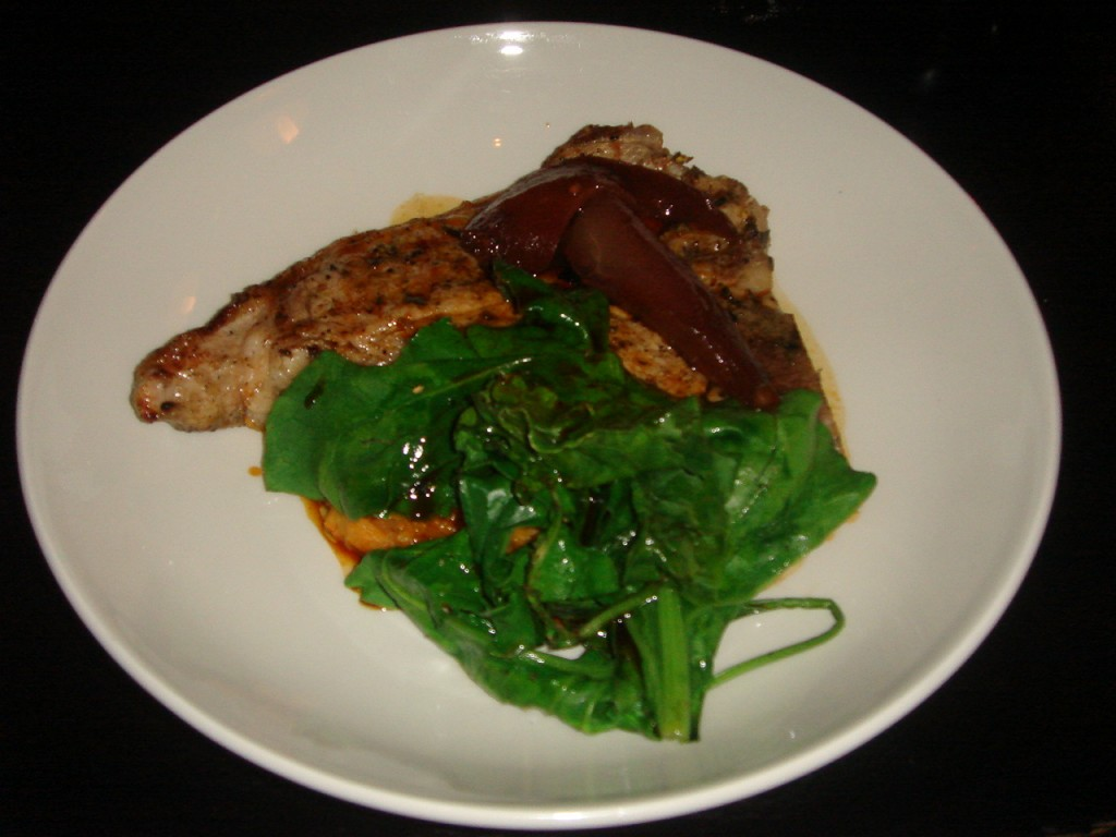 Grilled veal chop with sweet potato mash