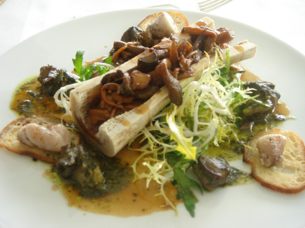 Fricasse of wild mushrooms & snails with bone marrow