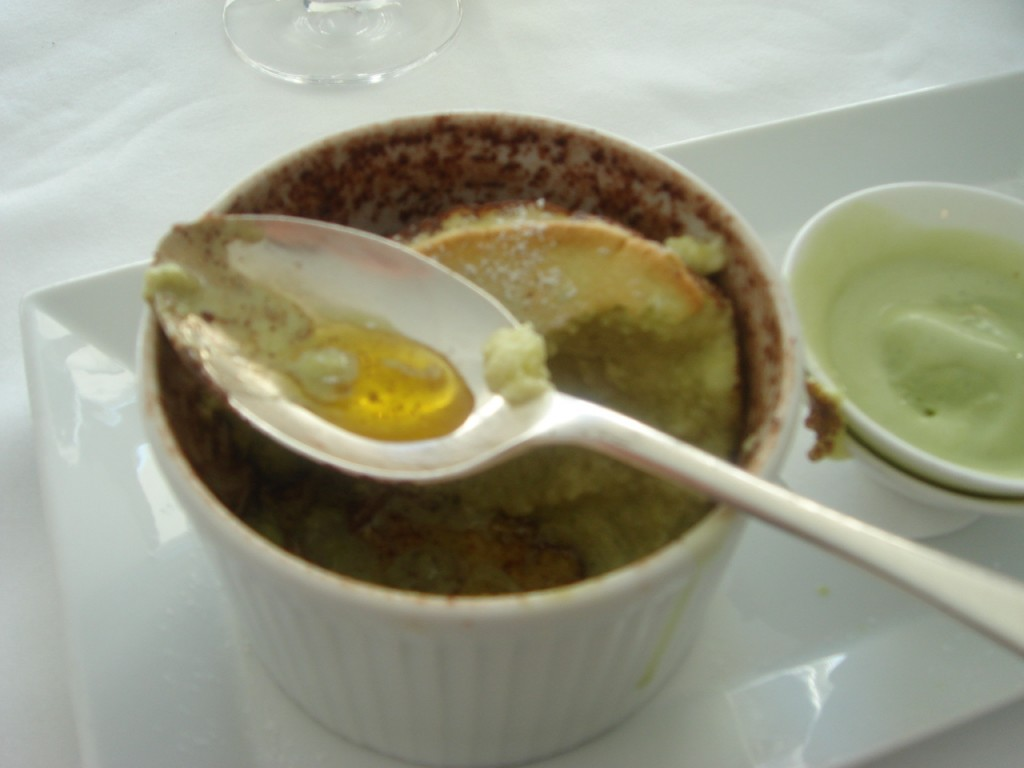 Some of the melted butter from the bottom of the ramekin