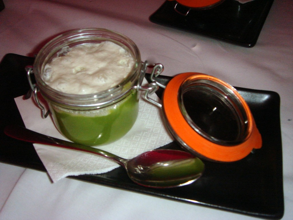 Broccoli soup with blue cheese foam