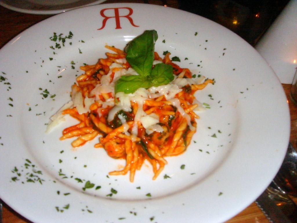 Trofie pasta with langoustines