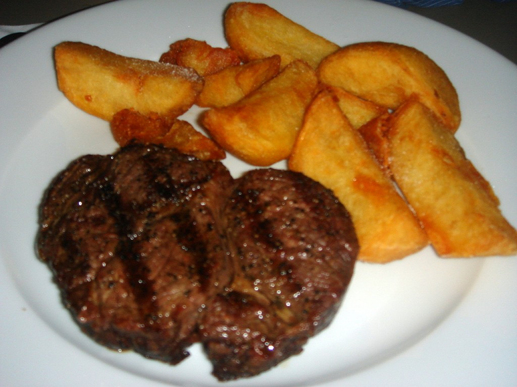 Rib-eye steak with chips
