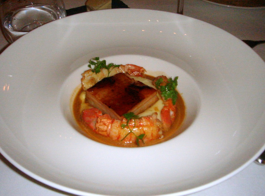 Pork belly with roasted langoustines & pommes mousseline