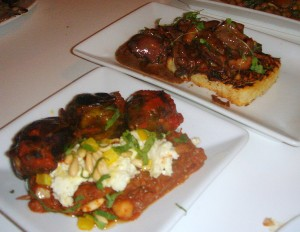 L to R: baby aubergine & chicken livers