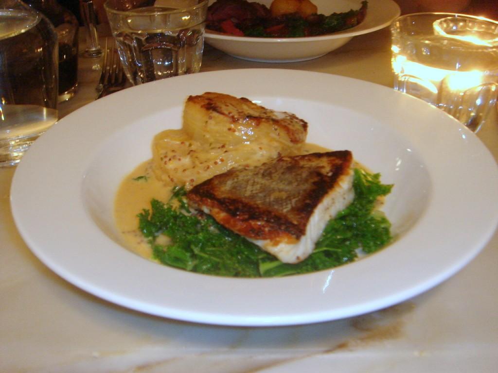 Roast cod, apple & potato gratin, grain mustard sauce